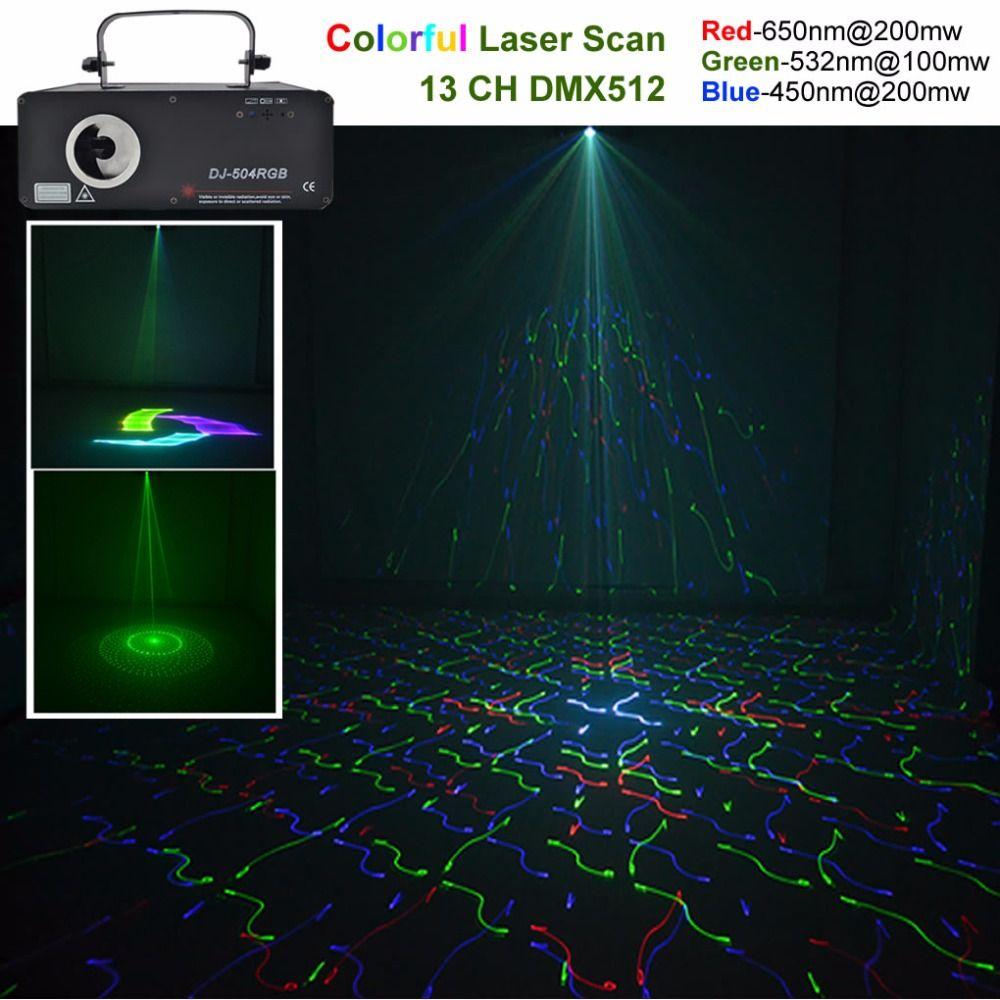 AUCD 500mW 5 In 1 RGB 3D Network Laser Program Source 13 CH DMX Projector Stage Lighting PRO DJ Show KTV Scanner Light DJ-504RGB