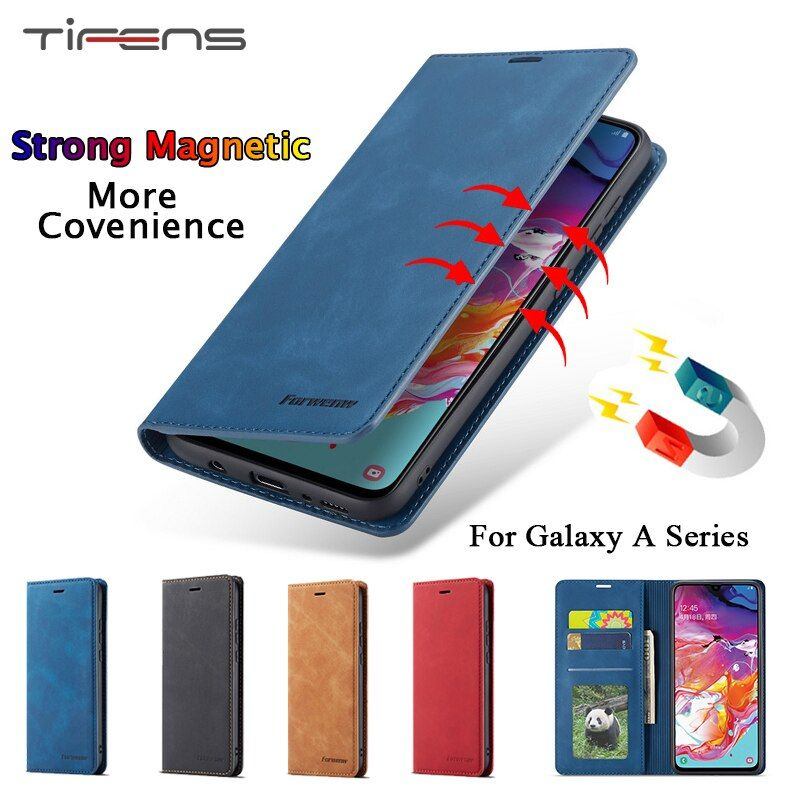 Luxury Leather A50 A20E Case For Samsung Galaxy A70 A50 A40 A30 A20 A10 M10 A80 A90 Strong Magnetic Wallet Flip Card Slots Cover