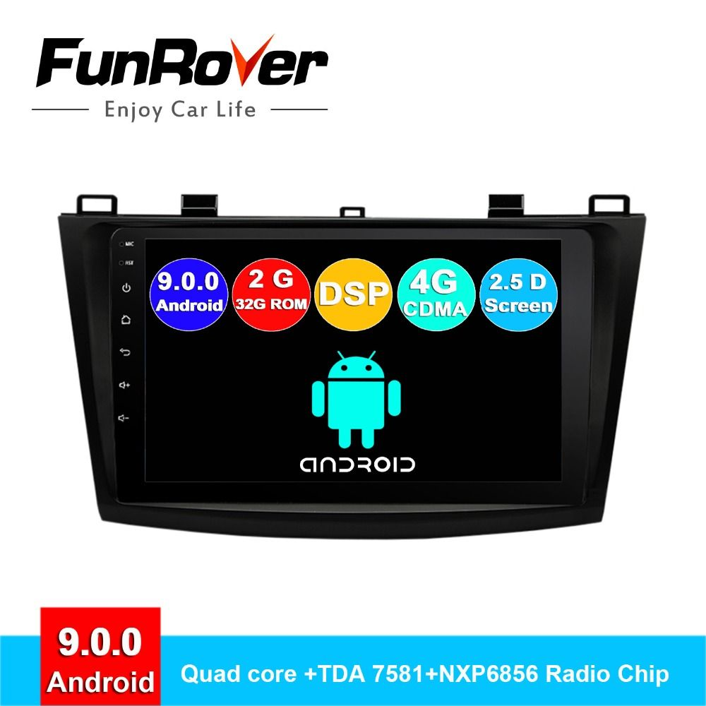 FUNROVER android 9.0 2.5D + IPS auto dvd-multimedia-player Für Mazda 3 Axela 2011-2013 radio gps navigation stereo vedio DSP DSP BT