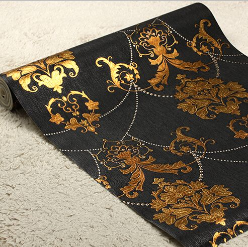 European Luxury Black Gold Wallpaper Living Room Bedroom Ceiling Mural Wallpaper For Walls 3D PVC Luxury Wall Paper Roll