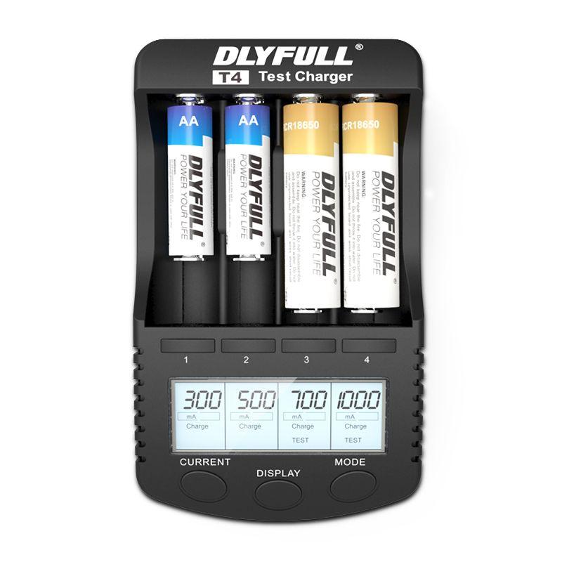DLYFULL T4 18650 Charger LCD 1.2V 3.7V AA AAA AAAA 26650 14500 16340 18350 18500 10440 NiMH <font><b>NICD</b></font> li-ion Smart battery Charger