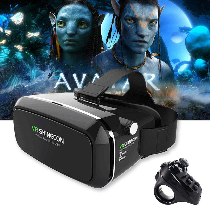 Original VR Shinecon Pro Goggles Virtual Reality Mobile VR 3D Glasses Headset BOX Cardboard Helmet for 4-6' Smartphone + Control