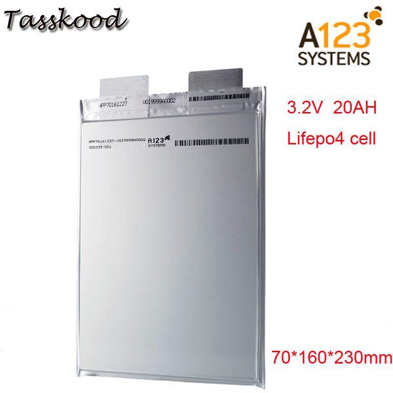 Keine steuern Li polymer A123 lifepo4 batterie 3,2 v 20000mah a123 20ah prismatische Lifepo4 batterie zelle verwenden für E -bike A123 3,2 V