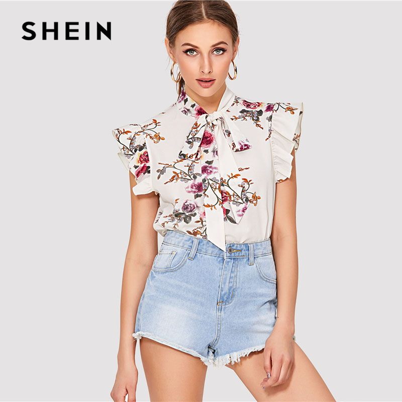 SHEIN Flora Print Tie Bow Neck Top Women <font><b>Stand</b></font> Collar Clothing Sleeveless Ruffle Blouse 2018 Summer New Weekend Casual Blouse