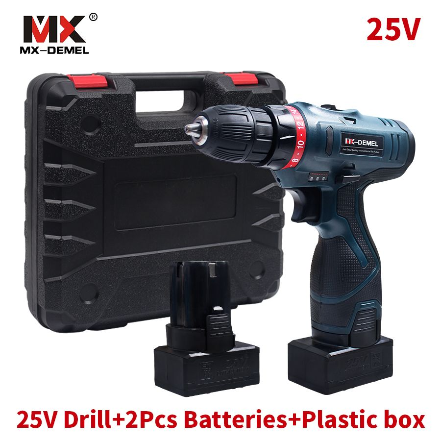 Longyun Style 25V Lithium Battery*2 Cordless Electric Drill Cordless Screwdriver Double Speed Electric Screwdriver Power Tools