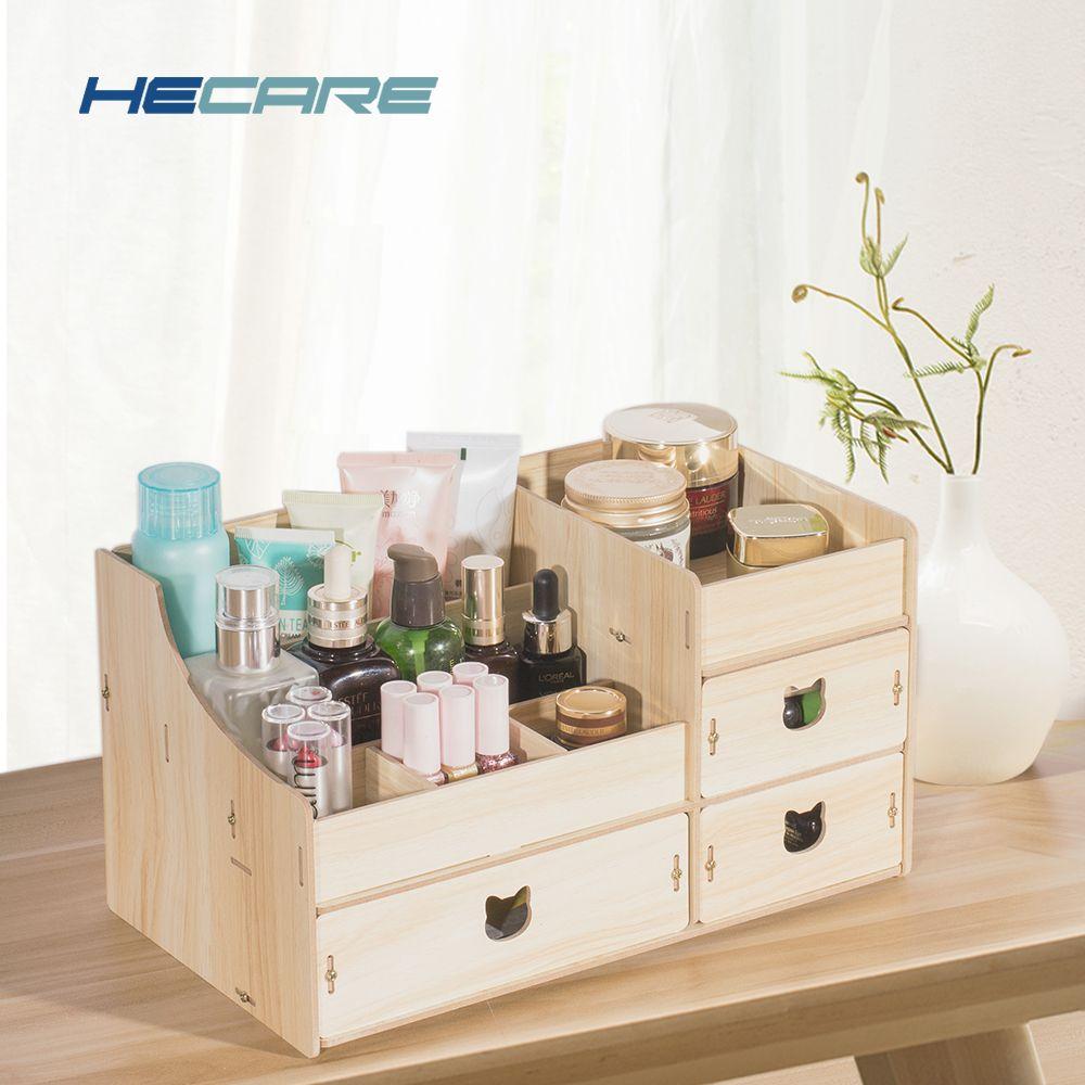 2019 nouveau bois cosmétique organisateur bricolage assemblage en bois organisateur De Maquiagem rose maquillage organisateur tiroirs usine bijoux boîte