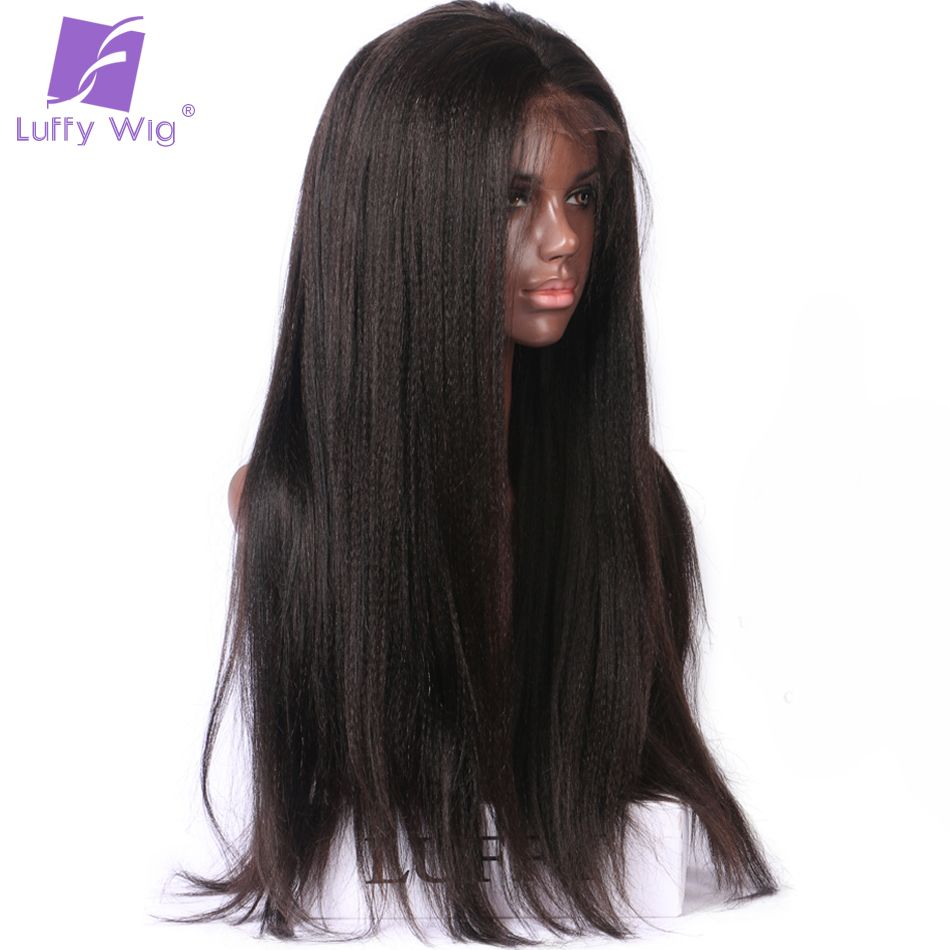 Luffy Yaki Straight 13*6 Long Space 180% Density Lace Front Human Hair Wigs Brazilian Non Remy Hair Natural Color Pre Plucked