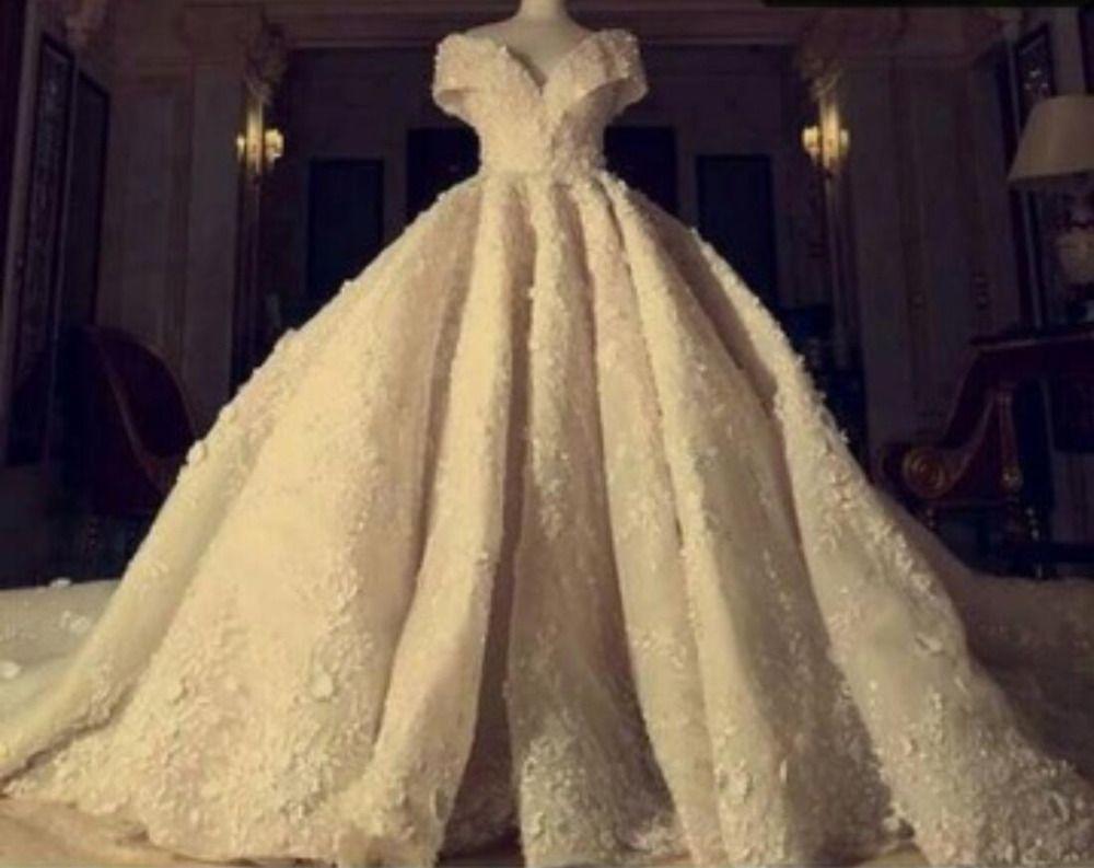 Stunning Grand Empire V Neck Wedding Dress Off the Shoulder Royal Train High-end Bridal Gown Custom Size Zipper Back Gown