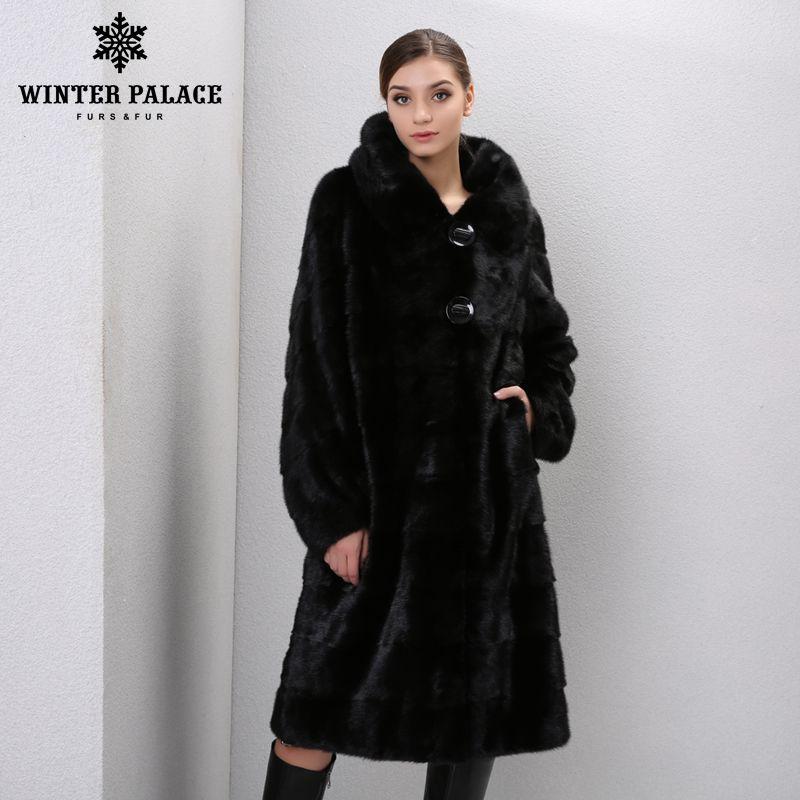 Winter Echtem Leder pelz frauen pelz mäntel Mode lange echte mantel nerz pelzmantel real nerz mantel