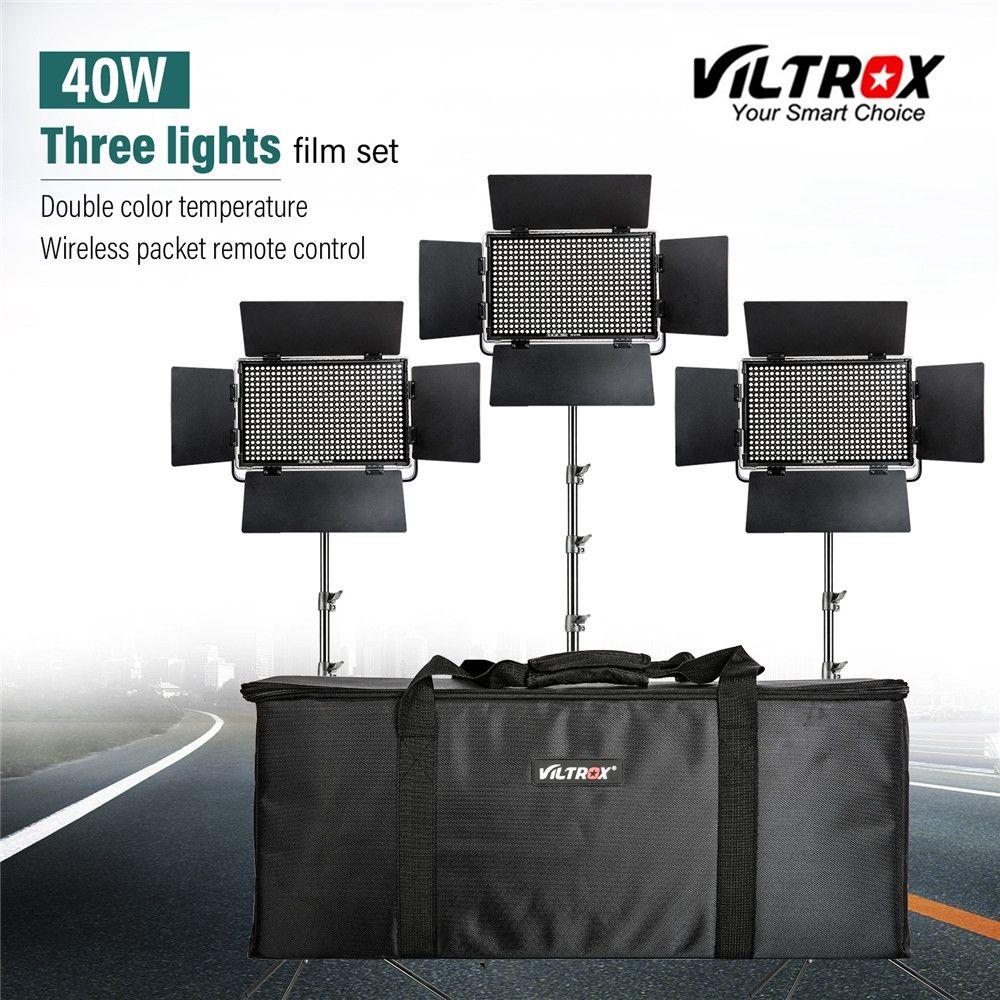 Viltrox VL-40T 3 stücke Video LED Licht Studio Bi-farbe Slim Dimmbare Lampe + 3 stücke licht strang für kamera Facebook YouTube zeigen Live