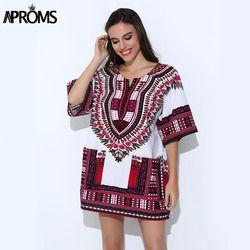 Aproms Vêtements Traditionnels Africains pour Femmes Chemise Mens Classique Bazin Riche Dashiki Tops Grande Taille Automne Imprimer Blouses 10716