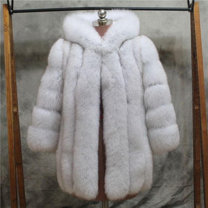 Russian style new thicken warm hooded genuine fur coat for women windproof luxurious real fox fur jacket Customize Color