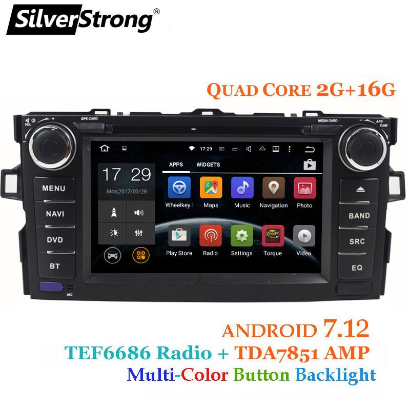 SilverStrong Android7.12 Car 2DIN for TOYOTA AURIS hatchback 2G+16G Car Radio GPS For Toyota Car DVD