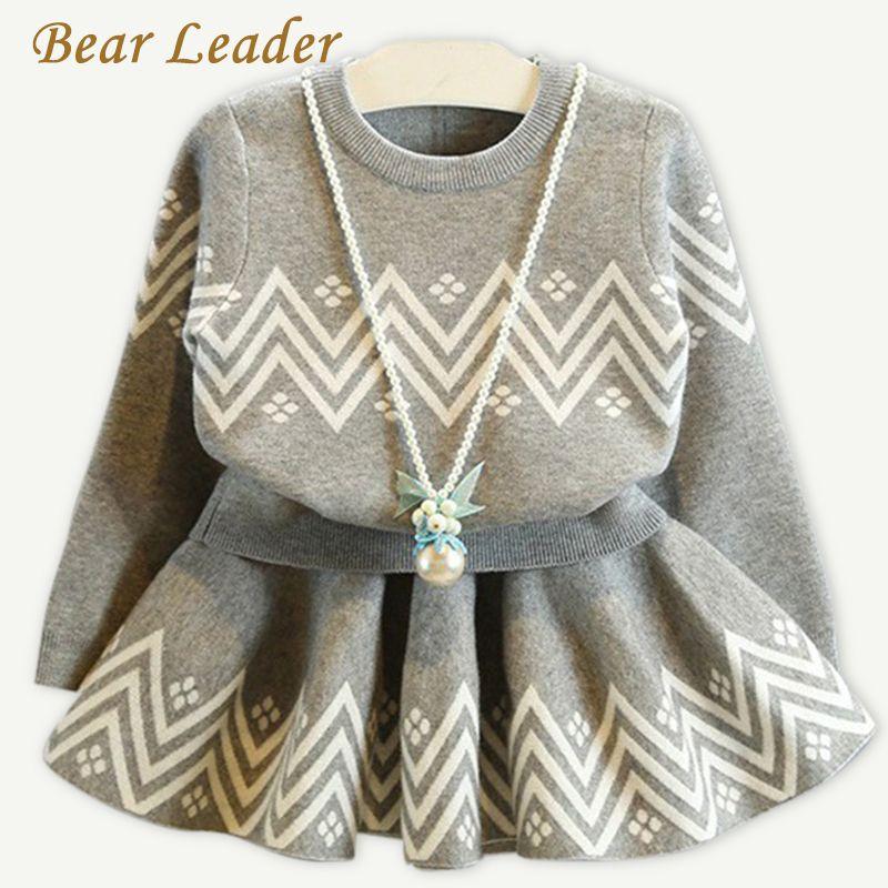 Bear Leader Girls Dress 2017 Winter Geometric Pattern Dress Long Sleeve Girls Clothes Top Coat+ Tutu Dress Sweater Knitwear 2pcs