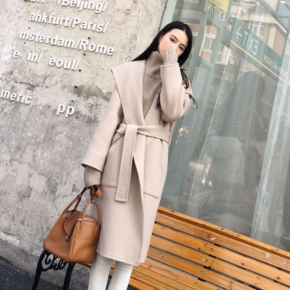 wool coat women long maxi coat winter hooded Wool Blends coat runway fashion beige thick warm wool coat outfit high quality