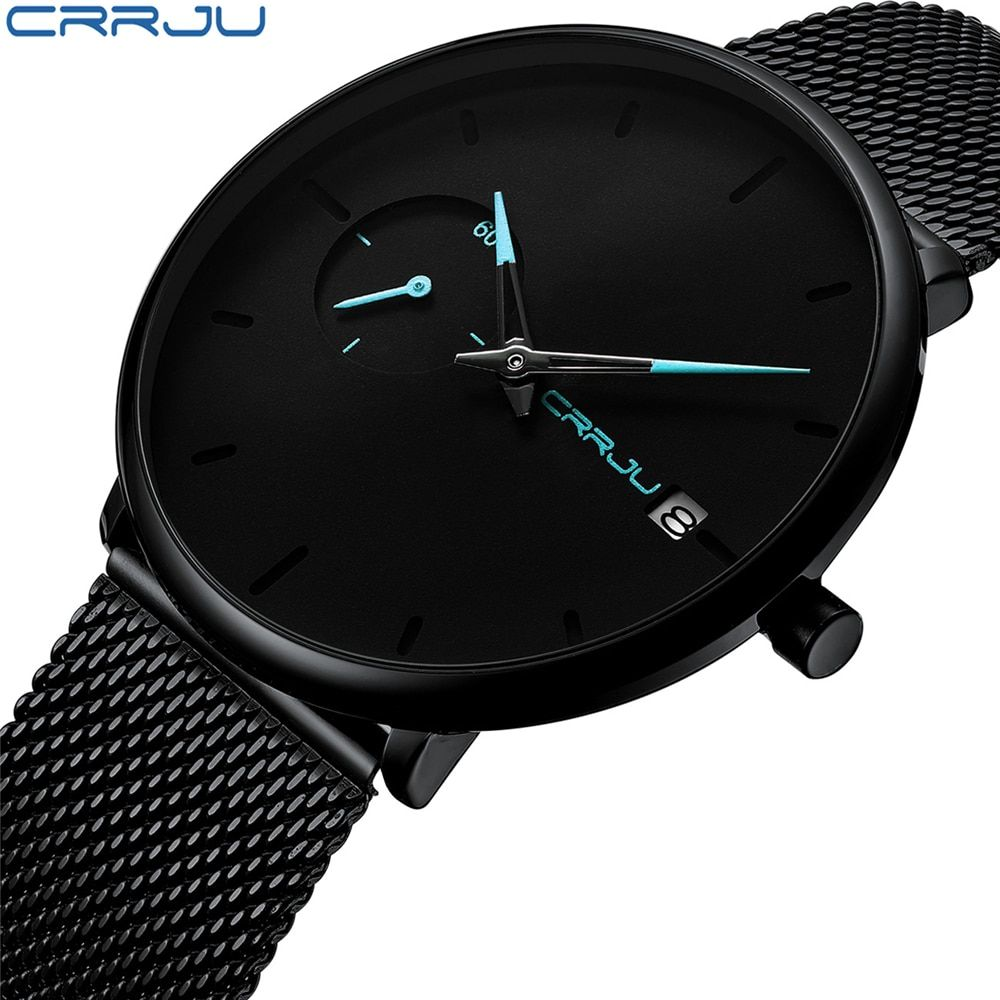 Crrju Men Watch Waterproof Date Calendar Analogue Wristwatches Mens Business Casual Quartz Watches For Man Clock Reloj Hombre