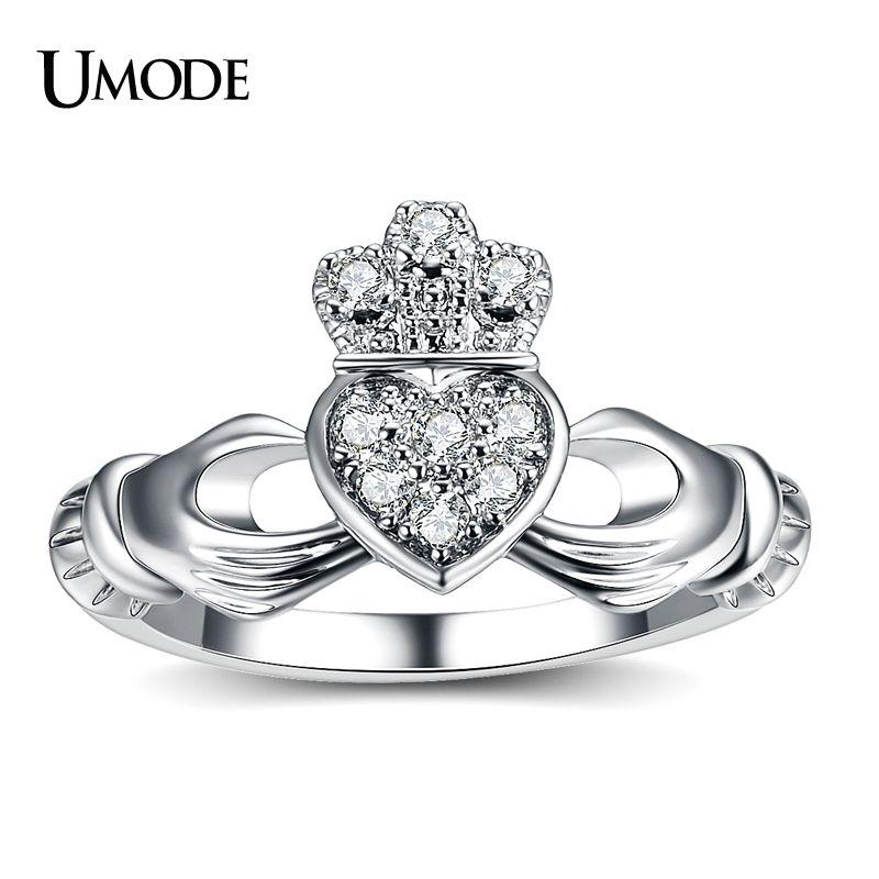 UMODE New Luxury Weiß Gold Farbe Hand Herz Krone Ring für Frauen Freundschaft CZ Hochzeit Band Schmuck Fashion Bague Femme AUR0127