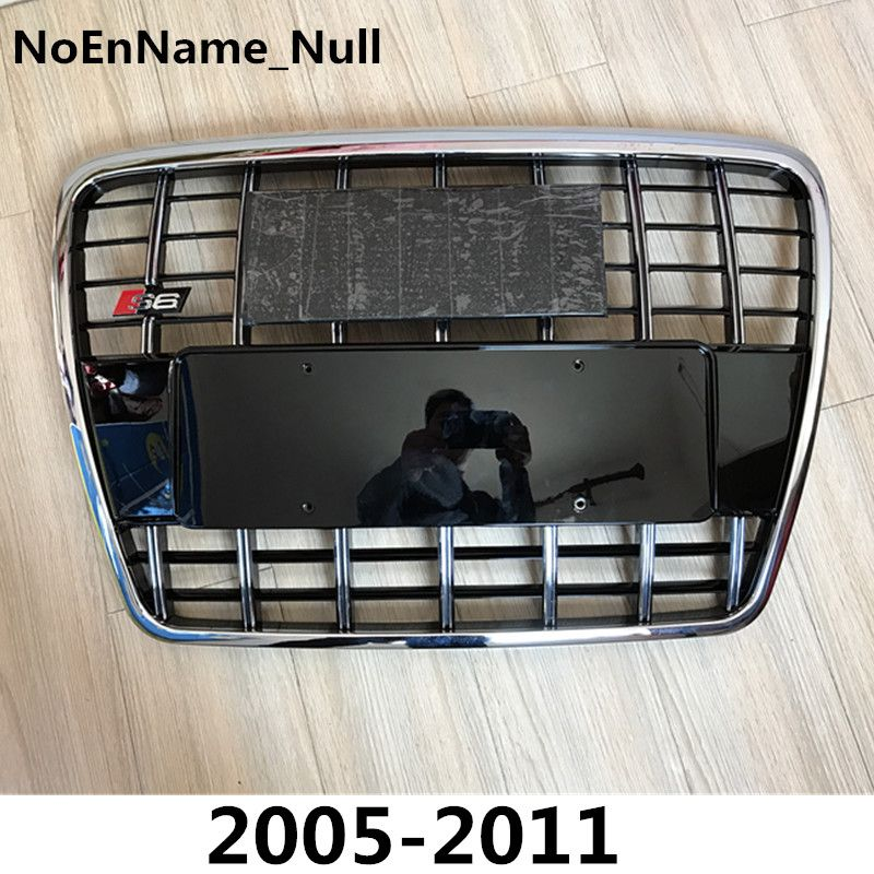 Silver Insert Mesh Grille Auto Grills For Audi A6 Quattro Styling C6 2005-2011 S6 Style Chrome Front Hood Bumper Grill Grille