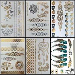 6 PCS/ lot Hot Flash Metallic Waterproof Temporary Tattoo Gold Silver Tatoo Women Henna Flower Taty Design Tattoo Sticker