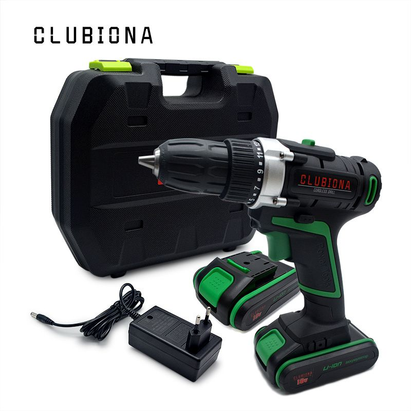 CLUBIONA high performance Powerful and Certificated Rated voltage 18V lithium-ion battery cordless electric drill Screwdriver