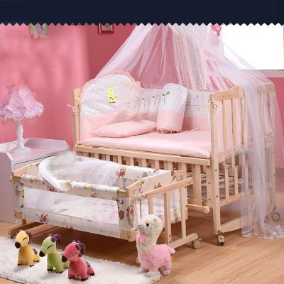 Cradle bed baby bed bed multi-functional game with a roller shaker child bed pine wood crib with mo squito nets free delivery