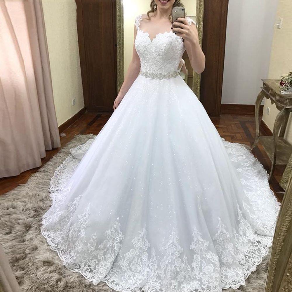 Vinca sunny Spitze Tüll Ärmellose Brautkleider Mit kristall gürtel Hochzeit Kleider 2019 vestido de casamento hochzeitskleid