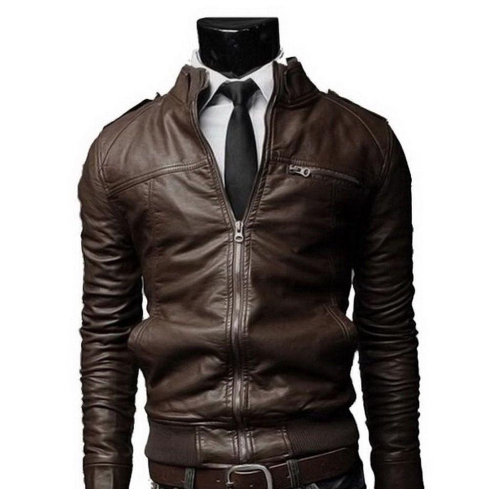 2017 Босоножки из искусственной PU кожи Для мужчин длинные стоячим воротником мотоцикл пальто бренда Для мужчин S Куртки пальто Для мужчин Кож...