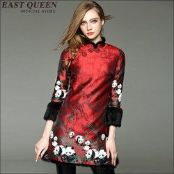 Tradisional Cina Wanita Sutra Qipao Pendek Mini Gaun Cheongsam Cina Gaya Musim Dingin Cheongsam Mantel AA1705X