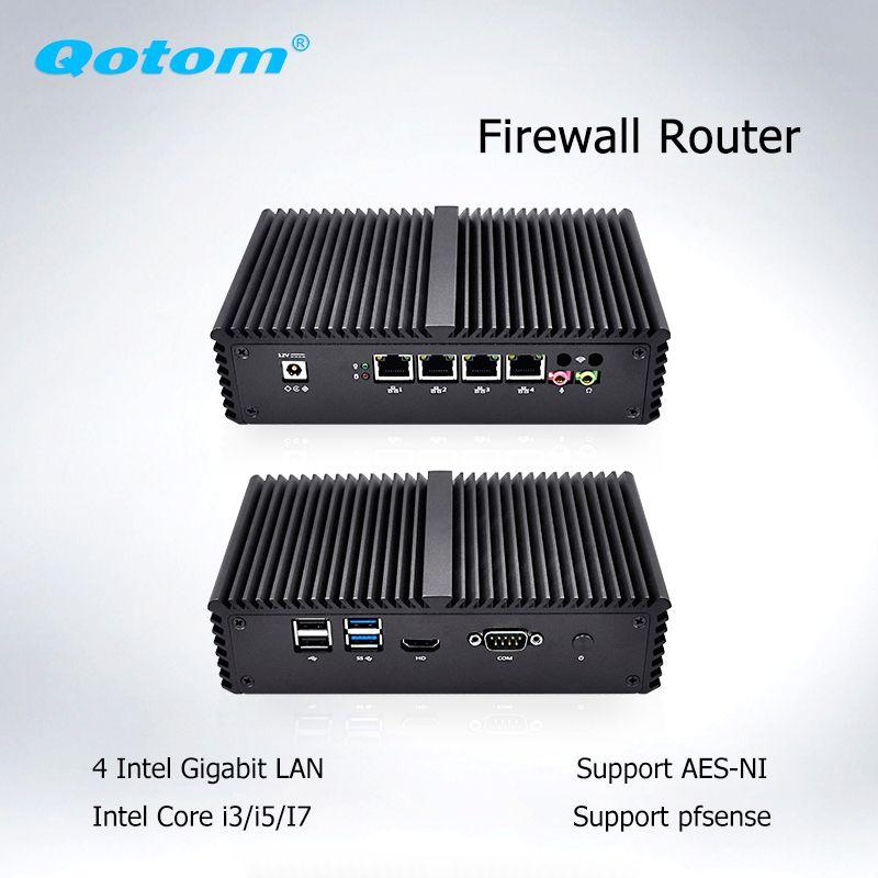 Qotom Mini PC Barebone 4 Lan Micro PC AES-NI Dual Core i5 i3 PFsense Firewall Mini Computer Linux Ubuntu Fanless mini PC Server