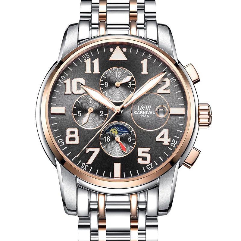 CARNIVAL Multifunction HD Luminous watch Top brand business Automatic Watch Men Calendar Moon phase Fashion mechanical watches