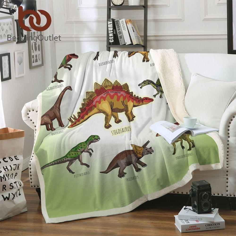 BeddingOutlet Dinosaure Famille Couverture pour Enfants Bande Dessinée Microfibre Jurassic En Peluche Sherpa Jeter Couverture sur le Lit Canapé Garçons Literie