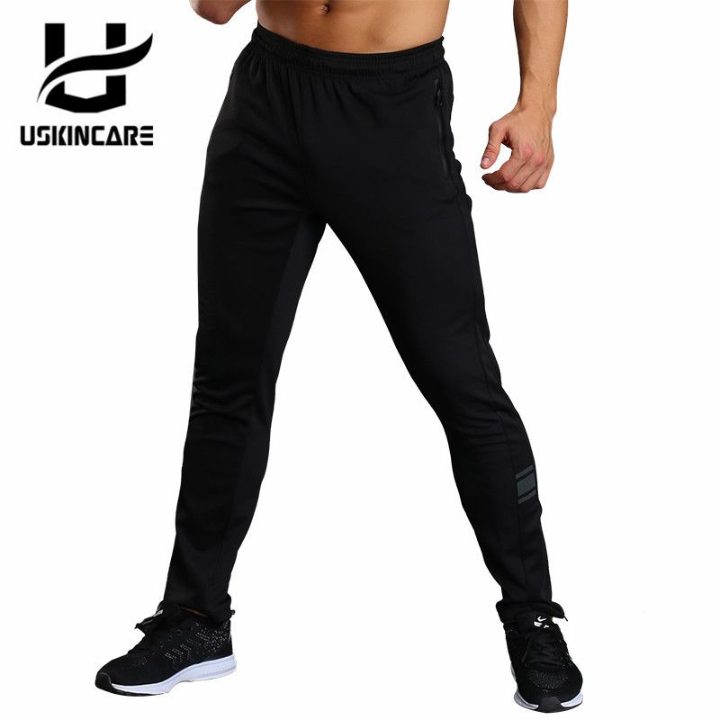 USKINCARE Men Sport Pants Running Fitness Sportswear Black Straight Outdoor Pants Breathable Male Trousers for Jogger