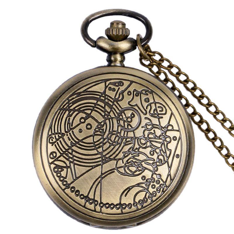 Estilo antiguo de Bronce del Doctor Who Hombres Mujeres Cuarzo Reloj de Bolsillo Fob Reloj de Regalo Colgante Con Collar de Cadena Cosplay Colecciones