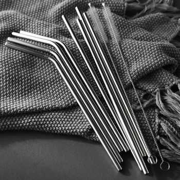 Reusable Stainless Steel Straws Eco Friendly Metal Drinking Straws Long Silver Bent Straight Straw Set Bar Cocktail Accessories