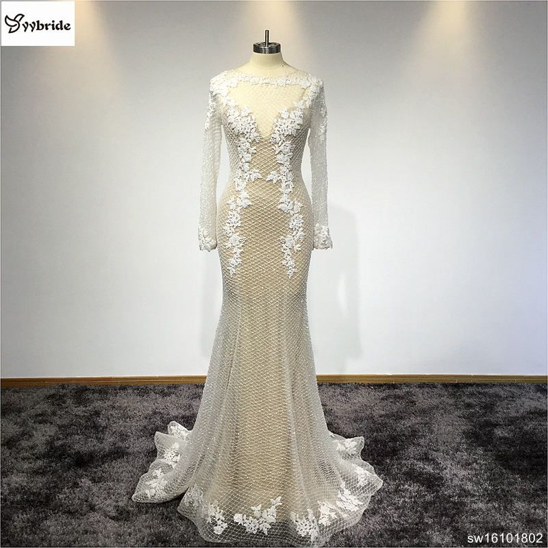 Customized Boat Neck Long Sleeves Lace Beaded Dress Evening Mermaid Evening Party Dress Back V-neck Long Evening Dress 2017