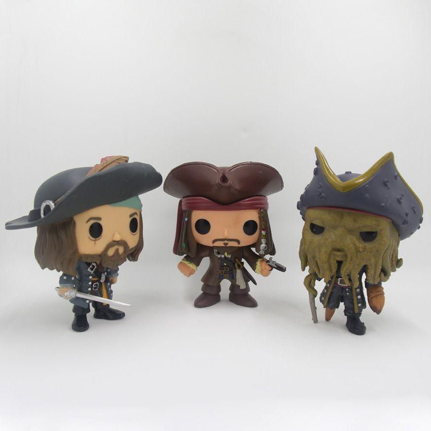 Pirates des caraïbes figurines jouets 10 cm capitaine Jack moineau Barbossa DAVY JONES PVC figurines poupée PVC modèle jouets