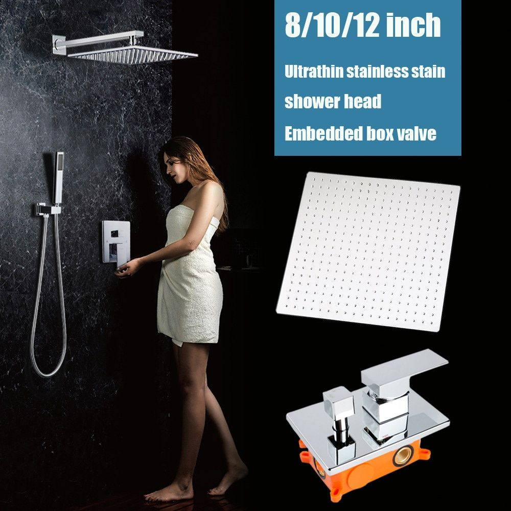 2 ways wall mounted rainfall shower set bathroom bath shower faucet valve 8 / 10 / 12 inch shower head chrome with embedded box