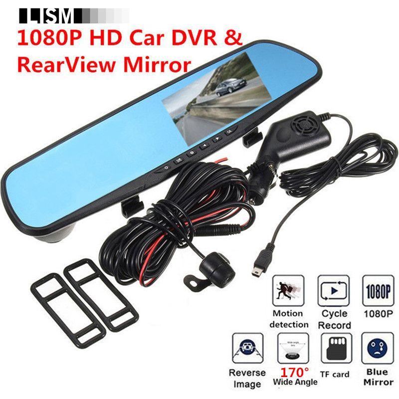 170Degree 1080P HD Car DVR RearView Mirror Kit Wide Vision DVRs Front Rear View Camera Car Mirror Smart Dash Camera Dashcam Cam