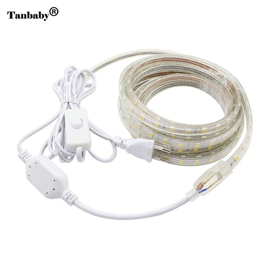 Tanbaby AC220V LED bande lumineuse SMD 5050 60 LED s/m IP67 bande de LED flexible étanche avec interrupteur marche/arrêt 1 M/2 M/3/4/5/6/7/8/ 9/10/20 M