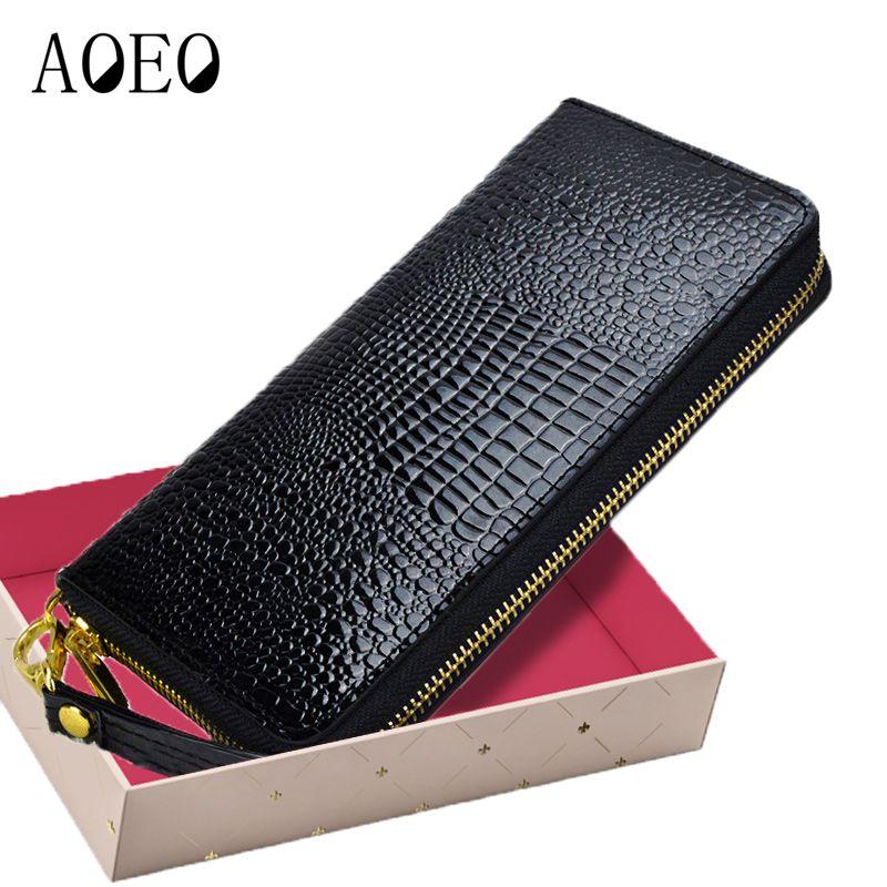 Femmes Alligator cuir portefeuilles Crocodile sac à main femme porte-carte de luxe argent Dollar sac dames or Long Walet filles bracelet