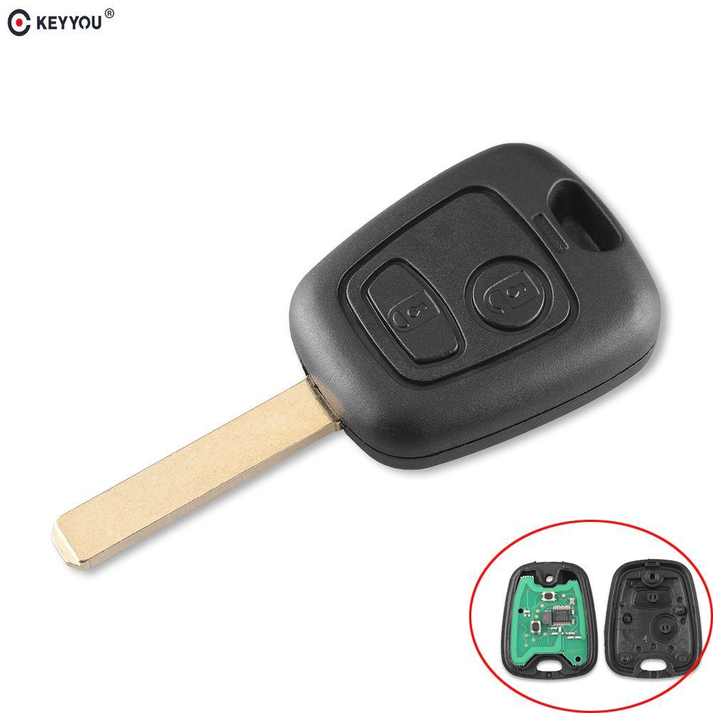 KEYYOU 2 Tasten 433 mhz Fernbedienung Auto Schlüssel Keyless Für Peugeot 307 Citroen C1 C3 Auto Schlüssel VA2 Klinge Mit PCF7961 Chip