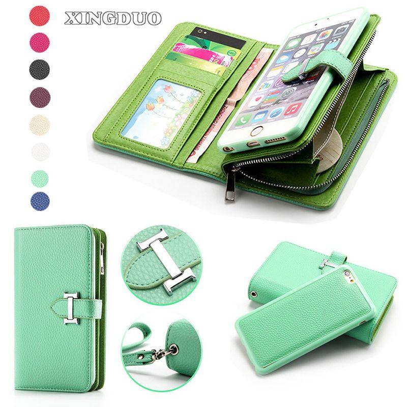PU cuir pour iphone 7 étui de maintien carte Zipper détachable sac à main pièce de monnaie étui pour iphone 7 7Plus 8 6S Plus X XR 11 PRO Max