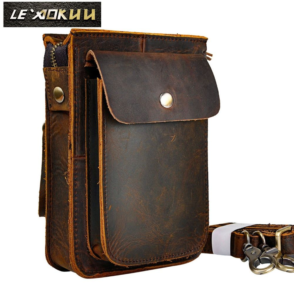 Crazy Horse Leather Multifunction Casual Daily Fashion Small Messenger One Shoulder Bag Designer <font><b>Waist</b></font> Belt Bag Phone Pouch 021