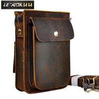 De cuero de Caballo Loco multifunción Casual moda diaria mensajero pequeño una bolsa de hombro bolsa de correa de la cintura bolsa de la bolsa del teléfono 021