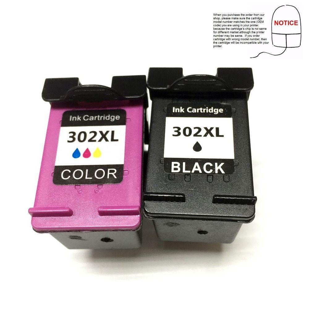(2BK + 1 C/M/Y) Remanufactured ink cartridge for HP302XL HP302 XL HP 302 XL Envy 4520 Deskjet 3630 printer