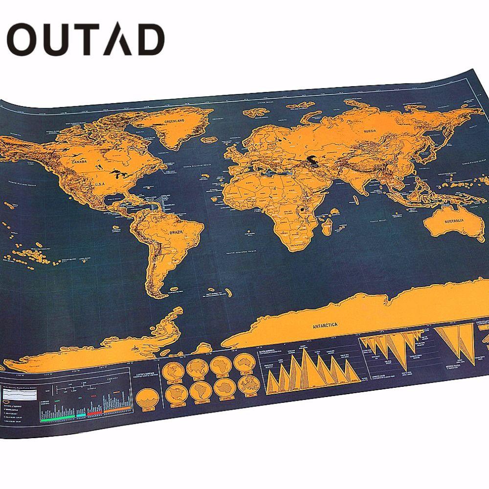 OUTAD Portatil de rascar Mapas Cartel Viajero de Vacaciones Entrar Regalo Personalizado Capa de Lámina de Recubrimiento de Mapa Del Mundo Envío de La Gota