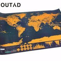 OUTAD de viaje portátil cero mapas cartel viajero Vacaciones de regalo personalizado de capa de revestimiento de mundo mapa envío de la gota