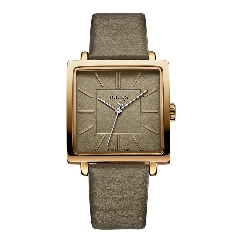 Julius Marque montres à quartz montre pour femme Or Carré En Cuir Bracelet décontracté Whatch De Mode Dames Pas Cher Promotion Relojes JA-354