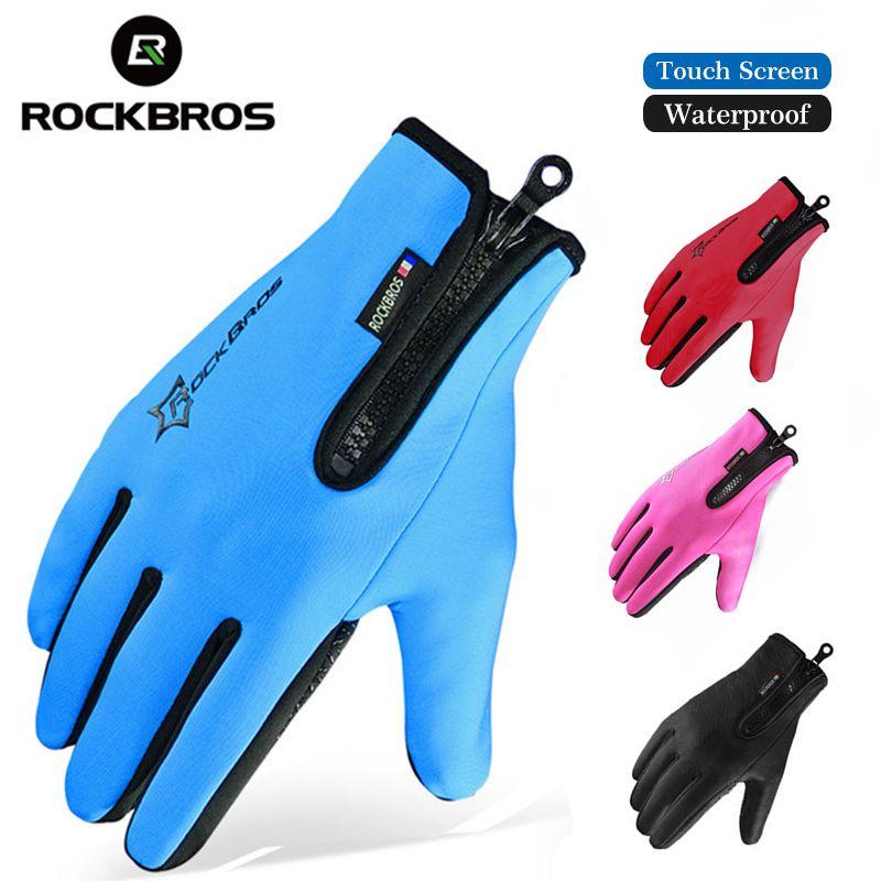 ROCKBROS Winter Skifahren Fleece Thermische Ski-handschuhe Snowboard Warme Sport Motorrad Wandern Vollfinger Männer Frauen Handschuh Touchscreen