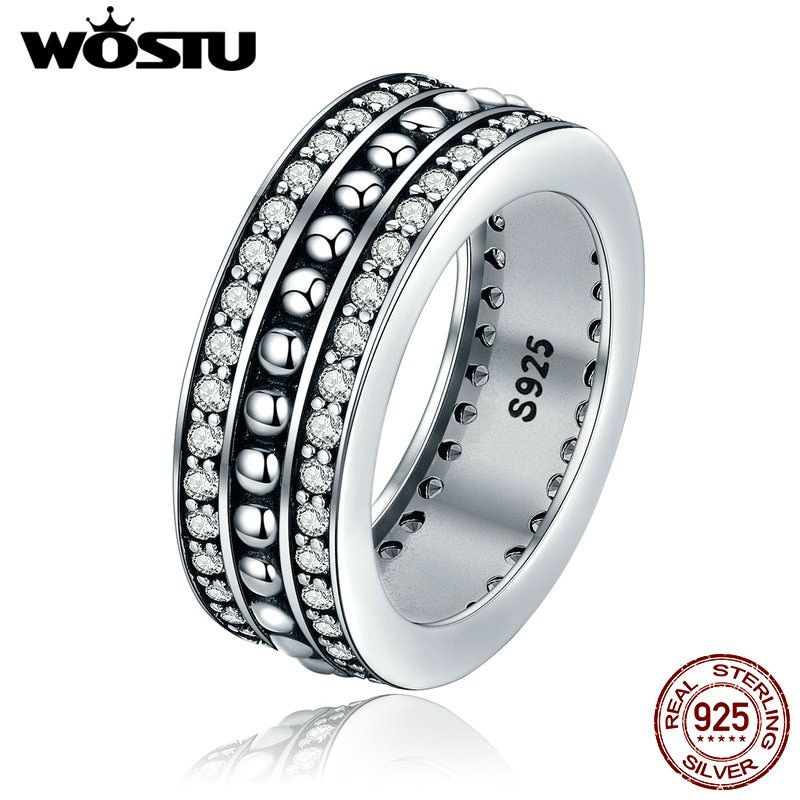 WOSTU 2018 New Fashion Real 925 Sterling Silver Vintage Style Forever Love Finger Rings For Women Jewelry Gift XCH7622